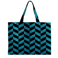 Chevron1 Black Marble & Turquoise Glitter Zipper Mini Tote Bag by trendistuff