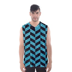 Chevron1 Black Marble & Turquoise Glitter Men s Basketball Tank Top by trendistuff