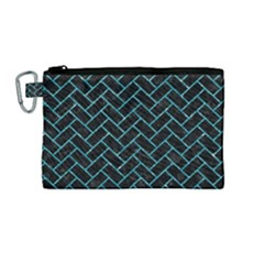 Brick2 Black Marble & Turquoise Glitter (r) Canvas Cosmetic Bag (medium) by trendistuff