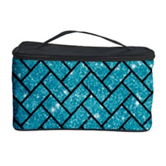 Brick2 Black Marble & Turquoise Glitter Cosmetic Storage Case