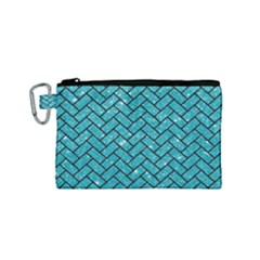 Brick2 Black Marble & Turquoise Glitter Canvas Cosmetic Bag (small) by trendistuff