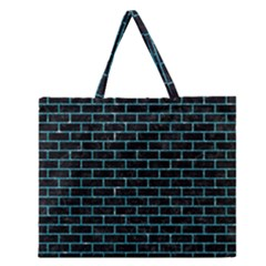 Brick1 Black Marble & Turquoise Glitter (r) Zipper Large Tote Bag by trendistuff