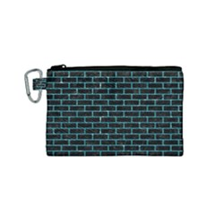 Brick1 Black Marble & Turquoise Glitter (r) Canvas Cosmetic Bag (small) by trendistuff