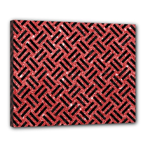 Woven2 Black Marble & Red Glitter Canvas 20  X 16  by trendistuff