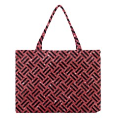 Woven2 Black Marble & Red Glitter Medium Tote Bag by trendistuff
