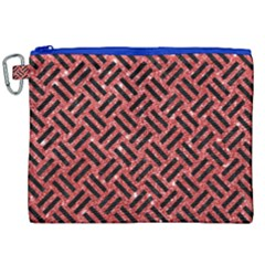 Woven2 Black Marble & Red Glitter Canvas Cosmetic Bag (xxl)