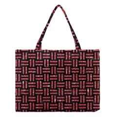 Woven1 Black Marble & Red Glitter (r) Medium Tote Bag by trendistuff