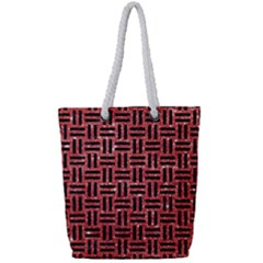 Woven1 Black Marble & Red Glitter Full Print Rope Handle Tote (small) by trendistuff