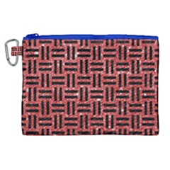 Woven1 Black Marble & Red Glitter Canvas Cosmetic Bag (xl) by trendistuff