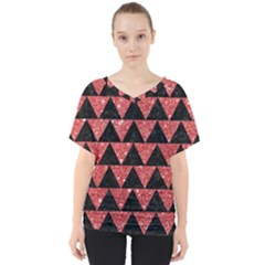 Triangle2 Black Marble & Red Glitter V Neck Dolman Drape Top