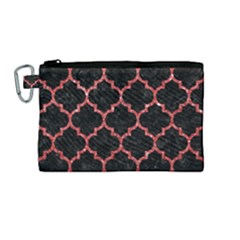 Tile1 Black Marble & Red Glitter (r) Canvas Cosmetic Bag (medium)