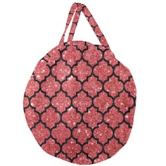 Tile1 Black Marble & Red Glitter Giant Round Zipper Tote