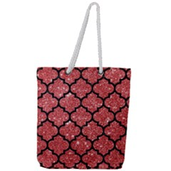 Tile1 Black Marble & Red Glitter Full Print Rope Handle Tote (large)