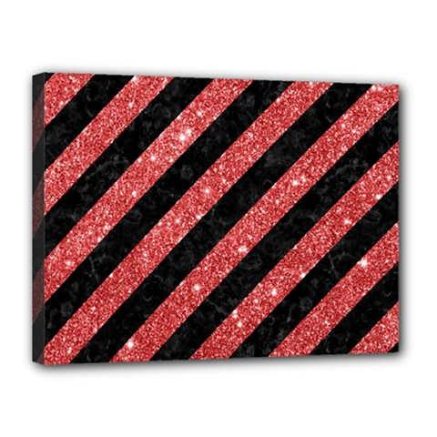 Stripes3 Black Marble & Red Glitter (r) Canvas 16  X 12  by trendistuff