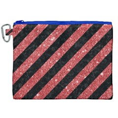 Stripes3 Black Marble & Red Glitter (r) Canvas Cosmetic Bag (xxl) by trendistuff