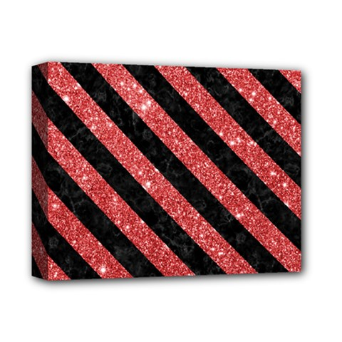Stripes3 Black Marble & Red Glitter Deluxe Canvas 14  X 11