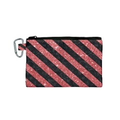 Stripes3 Black Marble & Red Glitter Canvas Cosmetic Bag (small) by trendistuff