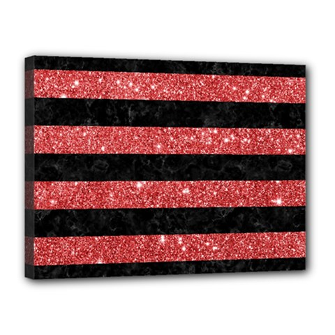 Stripes2black Marble & Red Glitter Canvas 16  X 12  by trendistuff