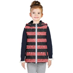 Stripes2black Marble & Red Glitter Kid s Puffer Vest