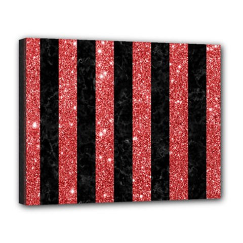 Stripes1 Black Marble & Red Glitter Canvas 14  X 11  by trendistuff