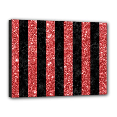 Stripes1 Black Marble & Red Glitter Canvas 16  X 12  by trendistuff