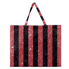 Stripes1 Black Marble & Red Glitter Zipper Large Tote Bag by trendistuff