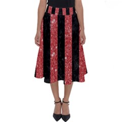 Stripes1 Black Marble & Red Glitter Perfect Length Midi Skirt by trendistuff