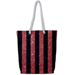 Stripes1 Black Marble & Red Glitter Full Print Rope Handle Tote (small)