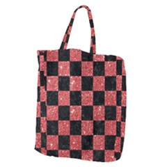Square1 Black Marble & Red Glitter Giant Grocery Zipper Tote by trendistuff