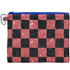 Square1 Black Marble & Red Glitter Canvas Cosmetic Bag (xxxl)