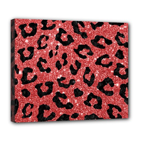 Skin5 Black Marble & Red Glitter (r) Deluxe Canvas 24  X 20   by trendistuff