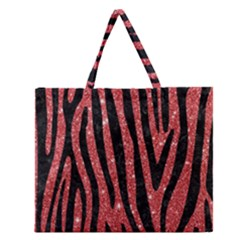 Skin4 Black Marble & Red Glitter (r) Zipper Large Tote Bag by trendistuff