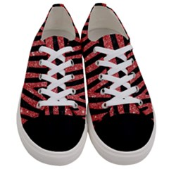 Skin4 Black Marble & Red Glitter Women s Low Top Canvas Sneakers