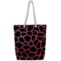 Skin1 Black Marble & Red Glitter Full Print Rope Handle Tote (small) by trendistuff