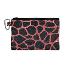 Skin1 Black Marble & Red Glitter Canvas Cosmetic Bag (medium) by trendistuff