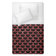 Scales3 Black Marble & Red Glitter (r) Duvet Cover (single Size) by trendistuff
