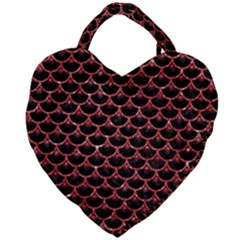 Scales3 Black Marble & Red Glitter (r) Giant Heart Shaped Tote by trendistuff