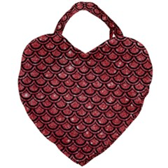 Scales2 Black Marble & Red Glitter Giant Heart Shaped Tote by trendistuff