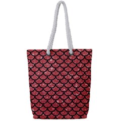 Scales1 Black Marble & Red Glitter Full Print Rope Handle Tote (small) by trendistuff