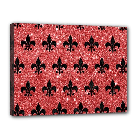 Royal1 Black Marble & Red Glitter (r) Canvas 16  X 12  by trendistuff