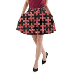 Puzzle1 Black Marble & Red Glitter A Line Pocket Skirt