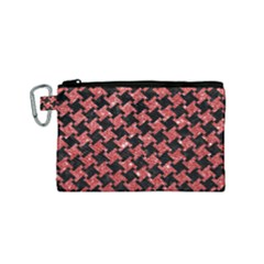Houndstooth2 Black Marble & Red Glitterhoundstooth2 Black Marble & Red Glitter Canvas Cosmetic Bag (small) by trendistuff