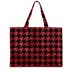 Houndstooth1 Black Marble & Red Glitter Zipper Mini Tote Bag by trendistuff
