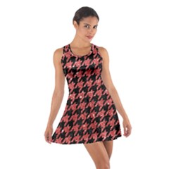 Houndstooth1 Black Marble & Red Glitter Cotton Racerback Dress