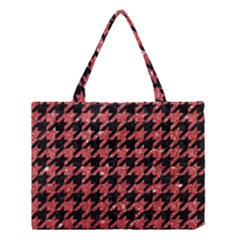 Houndstooth1 Black Marble & Red Glitter Medium Tote Bag by trendistuff