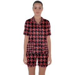 Houndstooth1 Black Marble & Red Glitter Satin Short Sleeve Pyjamas Set by trendistuff