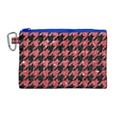 Houndstooth1 Black Marble & Red Glitter Canvas Cosmetic Bag (large)