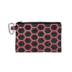 Hexagon2 Black Marble & Red Glitter (r) Canvas Cosmetic Bag (small) by trendistuff
