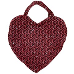Hexagon1 Black Marble & Red Glitter Giant Heart Shaped Tote by trendistuff