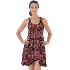 Damask2 Black Marble & Red Glitter (r) Show Some Back Chiffon Dress by trendistuff